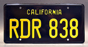 Replica metal stamped California license plate garage decor from Bullitt starring Jacqueline Bisset