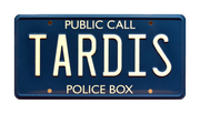 TARDIS prop plate movie memorabilia from Doctor Who with Sarah Jane Smith
