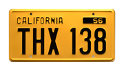 THX 138 prop plate movie memorabilia from American Graffiti starring Paul Le Mat
