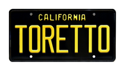 TORETTO prop plate movie memorabilia from The Fast and The Furious starring Vin Diesel