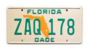 ZAQ 178 prop plate movie memorabilia from Miami Vice starring Don Johnson