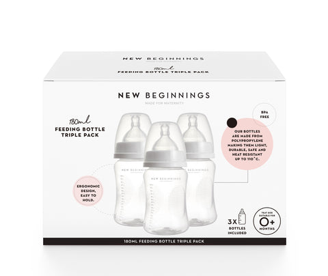 180mL Feeding Bottle Triple Pack - Durable, high quality plastic