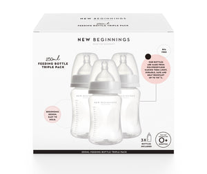 250mL Feeding Bottle Triple Pack - Durable, high quality plastic