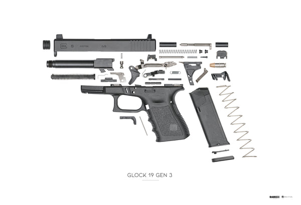 "AV12G x Black Box Poster Glock 19 Gen 3 Exploded 13""x19"""