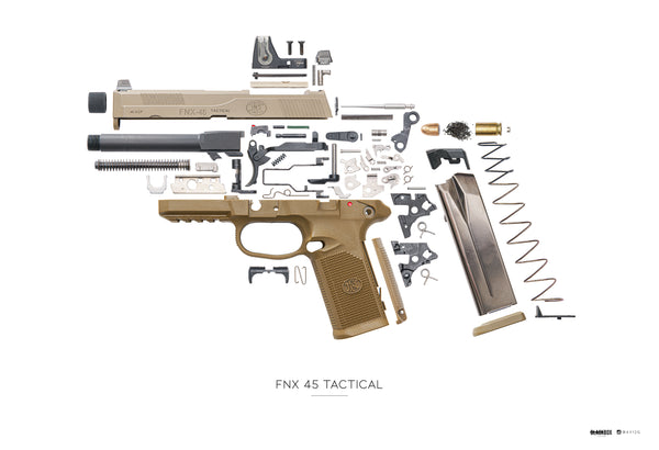 "AV12G x Black Box Poster FNX 45 Tactical Exploded 13""x19"""