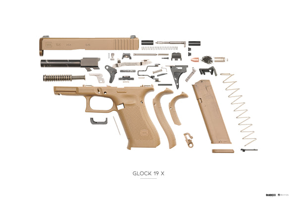"AV12G x Black Box Poster Glock G19X Exploded 13""x19"""
