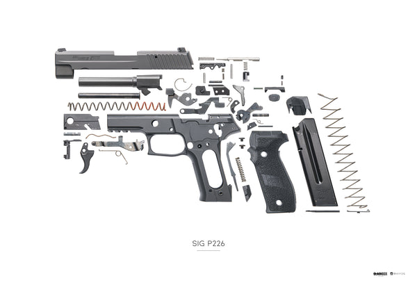 "AV12G x Black Box Poster Sig Sauer P226 Exploded 13""x19"""