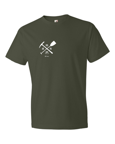 Men's Short Sleeve Tee- Pickaxe & Paddle - Rocky Mountain High Est. 2015  - 1
