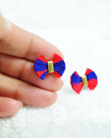 4th July earrings | unique royal blue red tassel earrings | brass studs