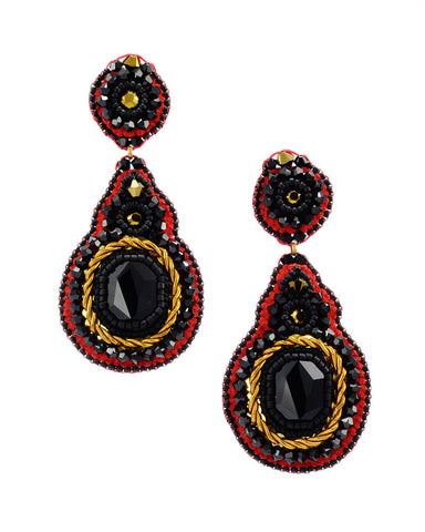 Black red gold statement dangle earrings - Exquistry