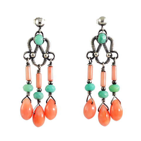Silver, peach coral and turquoise dangle earrings - amisha rathod - 1