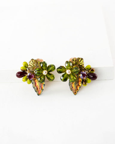 Vintage style hand beaded green flower clip on earrings