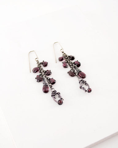 Plum garnet earrings | Silver chain dangle earrings