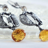 Silver tulip earrings | yellow citrine earrings | unique dangle earrings