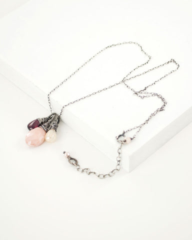 Silver cluster necklace with garnet and mystic pink Peruvian opal