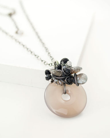 Gray black gemstone necklace with silver