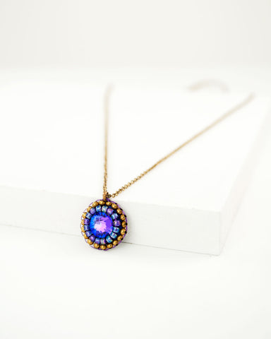 Dainty hand beaded necklace with purple swarovki crystals and antique brass metal