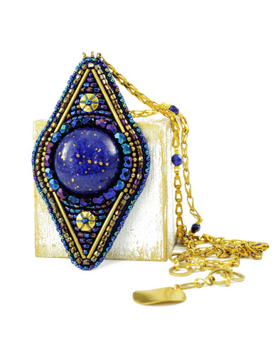 Blue gold statement pendant necklace - Exquistry