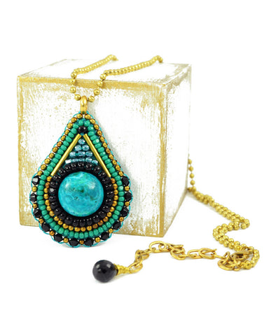 Teal green black gold pendant necklace - Exquistry