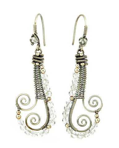 Silver dangle earrings with clear crystals - Exquistry