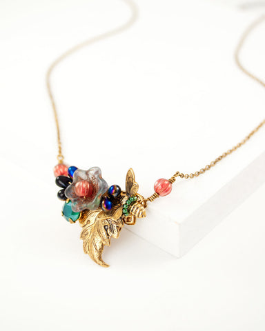 Floral glass and brass vintage inspired necklace