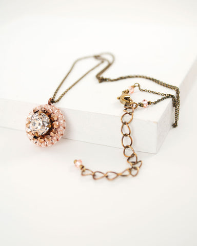 Dainty peach swarovski necklace by exquistry, handmade in Seattle