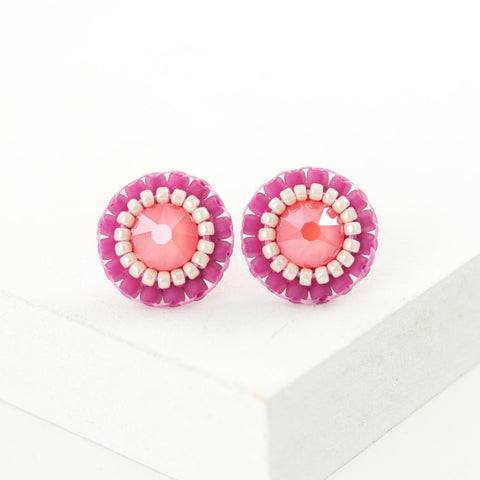 Fuchsia pink ivory coral swarovski stud earrings