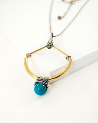 Turquoise mixed metal necklace with brass and silver