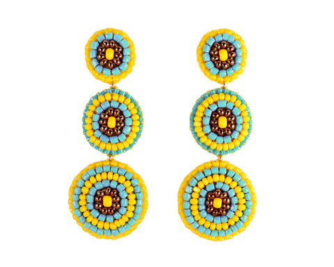 Yellow turquoise gold statement earrings - Exquistry