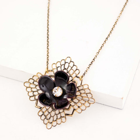 Black enamel flower necklace