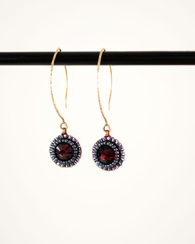 Gold maroon drop earrings | burgundy dangles