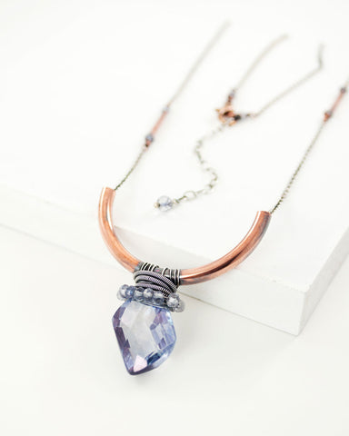 Purple quartz mixed metal necklace with copper and silver