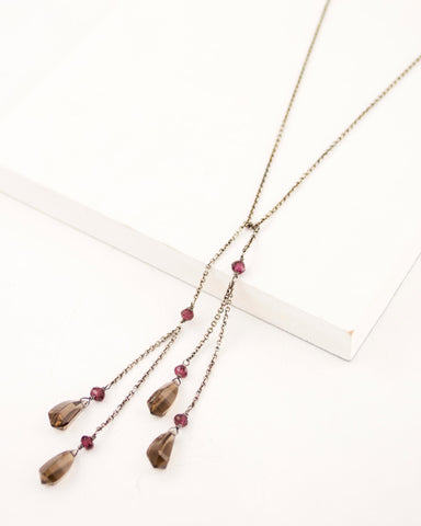 Garnet necklace with silver chain