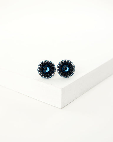 Blue black tiny stud earrings by exquistry, handmade in Seattle
