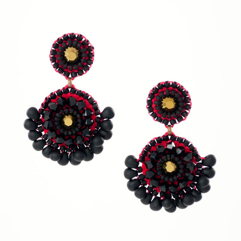 Black red beaded earrings