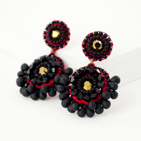 Black red gold statement beaded earrings with swarovski