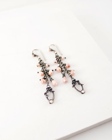 Silver chain dangle earrings with blush pink quartz
