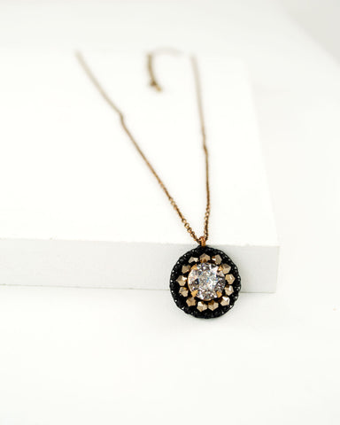 Unique glitter swarovski necklace | black gold brass delicate necklace