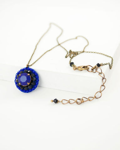 Royal blue, black swarovski beaded pendant necklace
