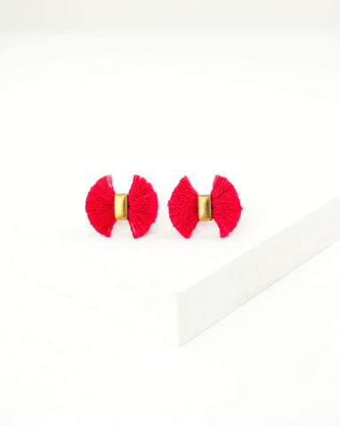 Red stud earrings | small fan stud earrings