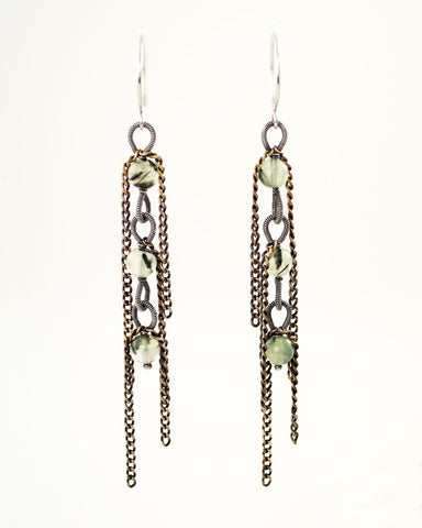 Silver and brass long dangle earrings with green Prehnite