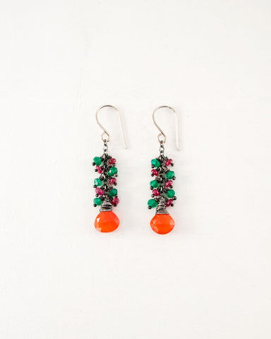 Carnelian, ruby, emerald green onyx earrings | Silver earrings