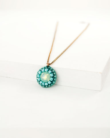 Teal turquoise green dainty pendant necklace with brass chain