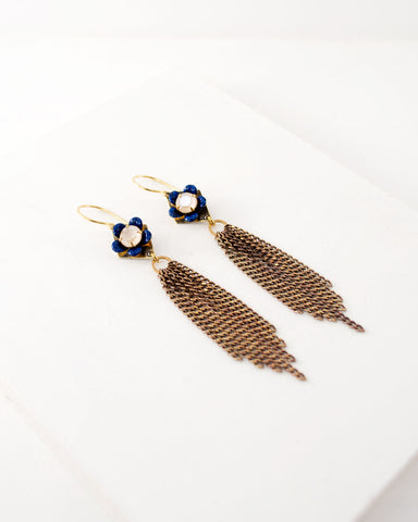 Gold tassel earrings with hand painted blue flower