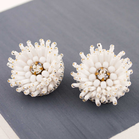 White stud earrings