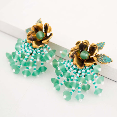 Mint sea green statement earrings