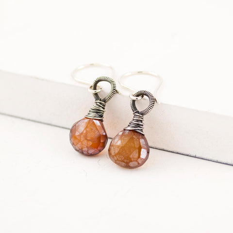 Burnt sienna quartz drop earrings