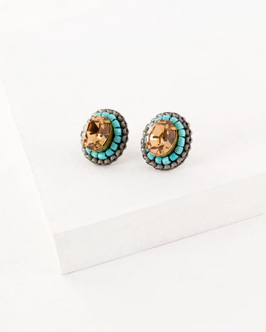 Champagne turquoise gray stud earrings