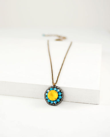 Yellow turquoise necklace | swarovski pendant with brass chain
