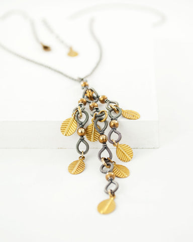 Mixed metal silver and brass leaves pendant necklace